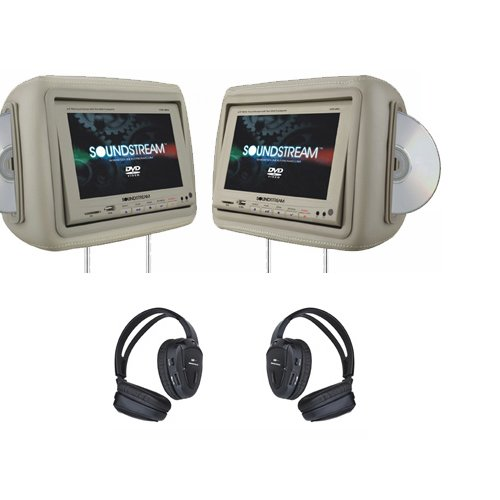 Soundstream VHD9GRDK 1 Pair Pre-Loaded 8.8-Inch LCD, Dark - Headrest Dvd Player Dark Gray