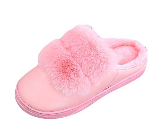 ICEGREY Damen Warme Hausschuhe Plüsch Kunstpelz Soft Sole Wärmehausschuhe Indoor Pantoffeln für Paare Rosa 38 39