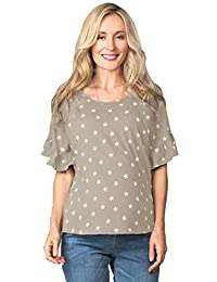 Sweet Mommy Maternity and Nursing Star Pattern Ruffle Sleeve Pullover