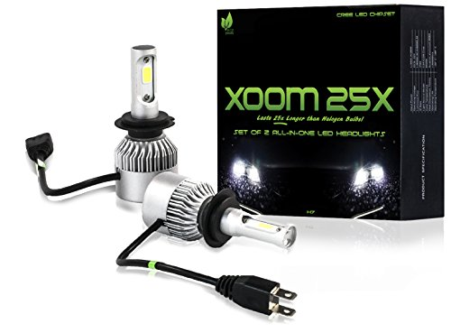 LED HEADLIGHT BULBS - H7 8000 lumen ALL-IN-ONE Conversion Kit - Eco Friendly 2-Pack CREE LED, Brighter Than Daylight Ultra White Increases Nightime Visibility, Easy Install, 2-Yr Warranty