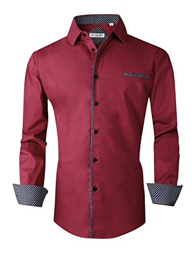 - Joey CV Mens Casual Button Down Shirts Long Sleeve Regular Fit Men Shirt(Burgundy,Large)