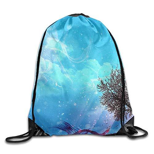 Beatybag 3D Print Drawstring Bags Bulk, Gym Drawstring Bags Tree Art Paint Draw Rope Shopping Travel Backpack Tote Student Camping