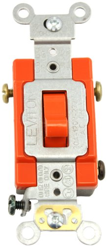 mp, 120/277-Volt, Toggle 3-Way AC Quiet Switch, Extra Heavy Duty Spec Grade, Self Grounding, Back and Side Wired, Red (Red Standard Switch)