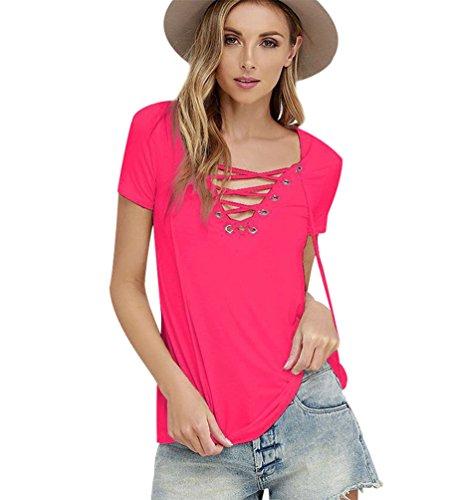 Estive Rose Femminili Camicie Tinta Shirt V Divertenti Maglie Top Maniche Maglietta T Maniche Maglia Top Eleganti Donna Corte Magliette Blusa Collo Spalla Scoperta Scritte Magliette Corte con Unita vp4nB8