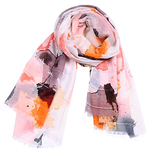 Happy-L Scarves, Women Large Format Satin Gouache Print Scarf Elegant Tassel Pumping Shawl Four Seasons Multifunction Winter Cooling Measures Sunscreen Scarf, Fashion -