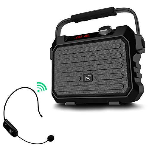 Wireless Pa System Speaker with UHF Headset Mic, 30W Portable Voice Loudspeaker, 3600mAh Rechargeable Amp and Microphone, Personal Voice Amplifier for Teachers, Meeting, Outdoors, Yoga, Promotion, ()