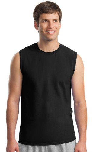 Gildan Men's Crewneck Sleeveless T-Shirt - BLACK - (Crew Sleeveless)