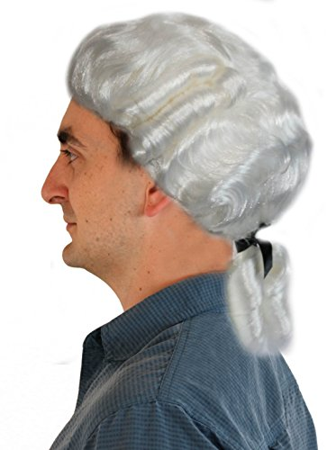 Deluxe White Colonial Men's Wig - Colonial Man Deluxe Costumes