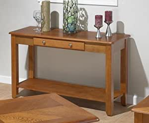Jofran 480-4 Drawer and Shelf Sofa Table in Light Oak,