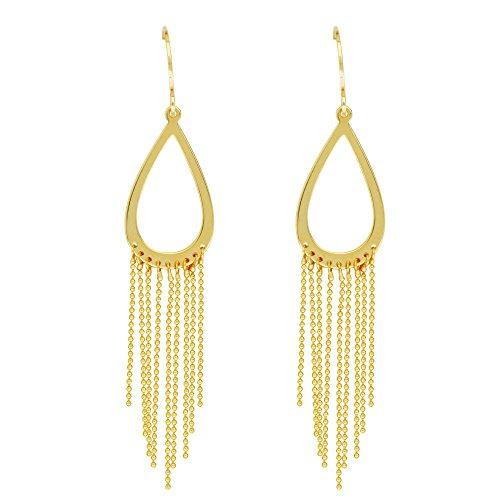 14kt Yellow Gold Open Teardrop Beaded Chain Fishhook Earrings ()