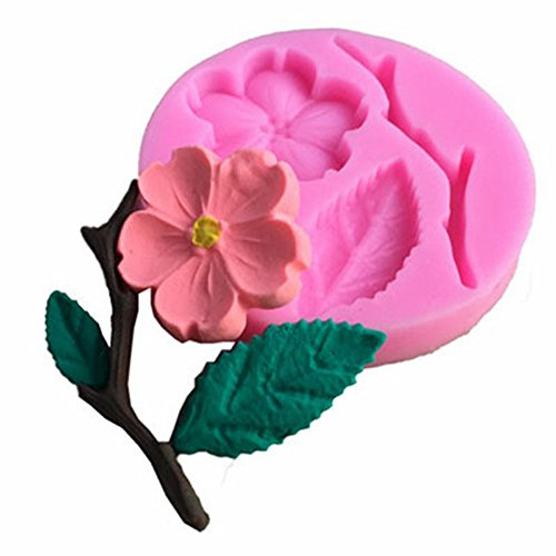 WYD Flowers and Leaves Set Fondant Mermaid Silicone Mold,Handmade Soap Mold,Cake Mold Decorating,Fondant Baking Mold