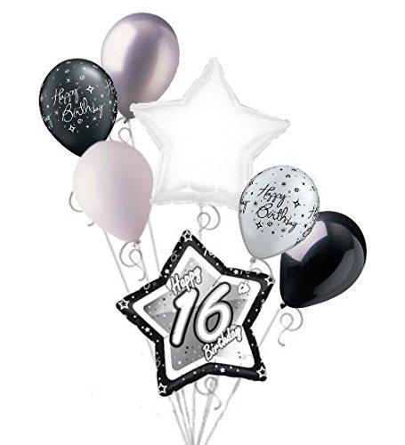 Jeckaroonie Balloons 7 pc 16th Elegant Star Happy Birthday Balloon Bouquet Decoration Black & -