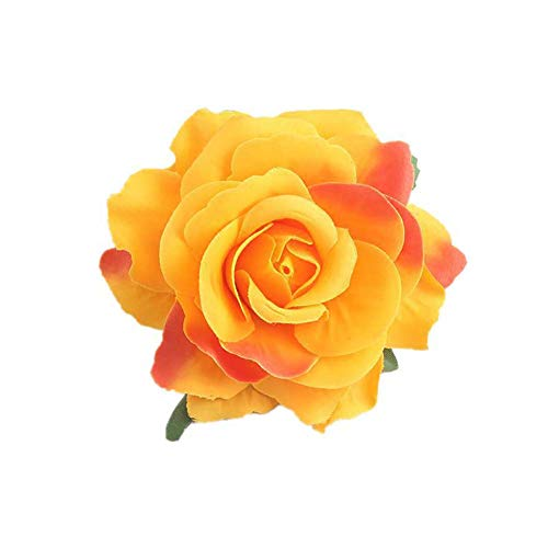 Lovefairy Beautiful Rose Flower Hair Clip Pin up Flower Brooch for Party Travel Festivals (Orange Yellow) ()