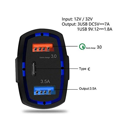 48W 3-Port Adaptive Fast USB Car Quick Charge Port 6T Razer - Razer Phone - RED Hydrogen One