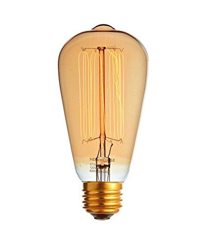 newhouse lighting 60watt vintage edison filament light bulb medium e26 standard base e27 120v 230 lumens