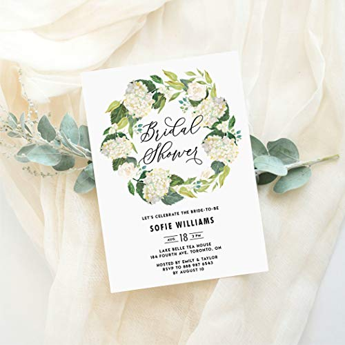 (Dozili Floral Bridal Shower Invitation Watercolor White Hydrangeas Wreath Bridal Shower Invitation)