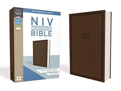 NIV, Value Thinline Bible, Leathersoft, Brown, Comfort Print