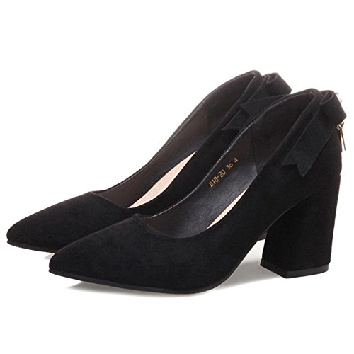 SJJH Elegant Court Shoes with Chunky Heel and Pointed Toe for Office Ladies Black j8AUPorMH