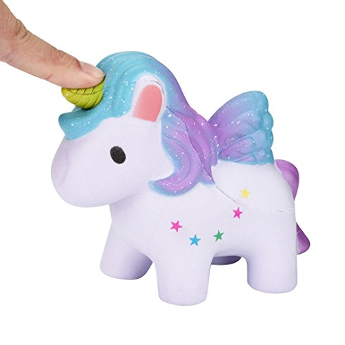 Relieve Stress Toy Gifts Lovely Rainbow Horse Dreamlike Unicorn Squishy Scented Squishy Slow Rising Squeeze Collection Decor By Makaor (Rainbow, Size: 12cmx10cmx 5cm)
