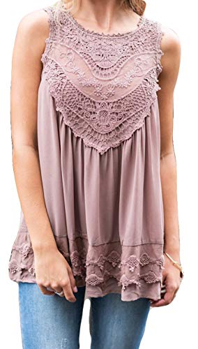 POGTMM Women's Summer Casual Sleeveless Lace Tops Lace Trim Tunic Tops Chiffon Blouses (S(4-6), Z-Pink) (Crochet Trim Sleeveless)