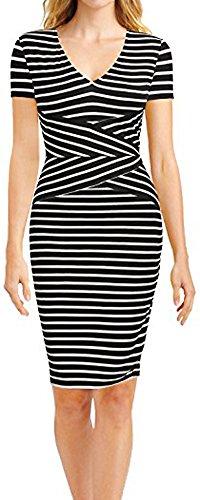LunaJany Women's Short Sleeve Stripe Sexy Bodycon Wear To Work Office Midi Dress