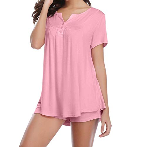 WOCACHI Christmas Women Sleepwear Set Pajama 2PC Sets Button Solid Short Sleeve Nightwear End Season Tops Women Shirts Ladies Womens Blouses ()