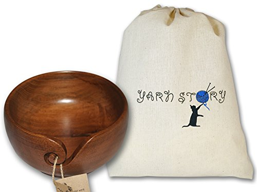 YARN STORY Handmade Wooden Walnut Yarn Bowl and Knitting Bag Bundle, 6-Inch-by-3-Inch