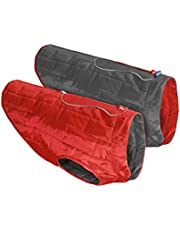 Kurgo Loft Jacket, Reversible Dog Coat, Dog Coat for Cold Weather, Water-Resistant Dog Jacket with Reflective Trim, Red/Grey, Medium