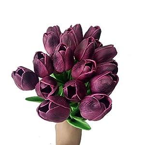 Silk Flower Arrangements 20PCS/Set PU Tulip Flower Real Touch Artificial Silk Flowers Arrangement Bouquet Home Room Office Wedding Party Decor (Purple)