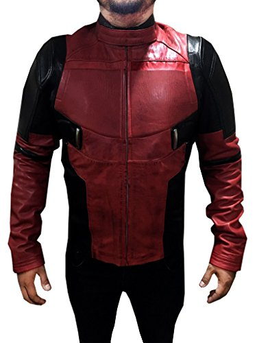 Deadpool Wade Wilson Ryan Reynolds Leather Jacket Cosplay Costume (XL, Red and Black) - Deadpool Costume Ryan Reynolds