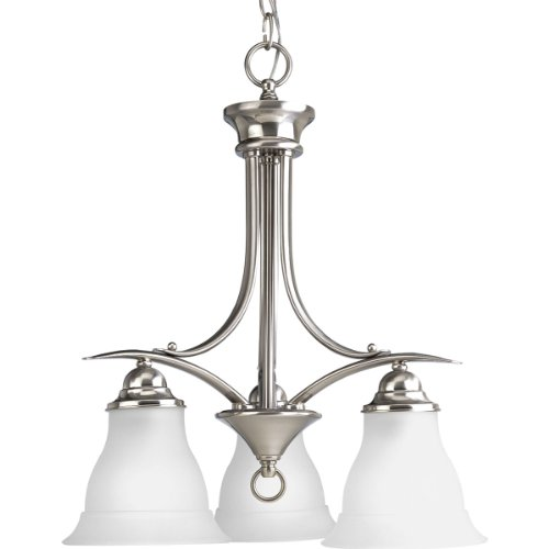Progress Lighting P4324-09 3-Light Chandelier with Etched Glass, Brushed Nickel