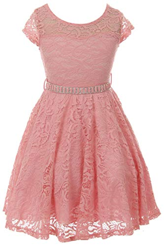 Big Girl Cap Sleeve Lace Skater Stone Belt Flower Girl Dress (19JK88S) Rose Pink 12