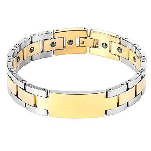 Stainless Steel 3-Rows Men's Gold Cuff Bangle with Anchor Design - 4