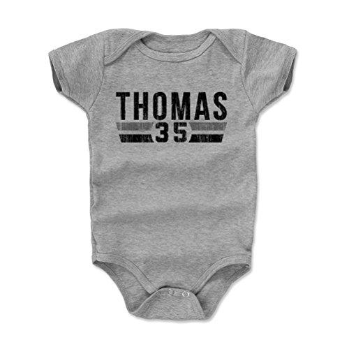 (500 LEVEL Frank Thomas Baby Clothes, Onesie, Creeper, Bodysuit 6-12 Months Heather Gray - Vintage Chicago Baseball Baby Clothes - Frank Thomas Font K)