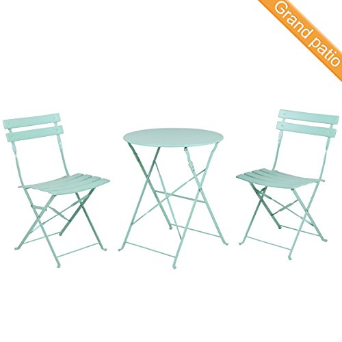 Grand patio Premium Steel Patio Bistro Set, Folding Outdoor Patio Furniture Sets, 3 Piece Patio Set of Foldable Patio Table and Chairs, Macaron Blue Bistro Table Chair Set