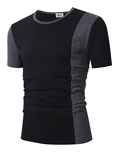 MrWonder Men's Casual Slim Fit Crew Neck Color Block Contrast Color T Shirt Black 2XL