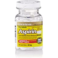 GoodSense Aspirin Pain Reliever 325 mg Coated Tablets, 100 Count