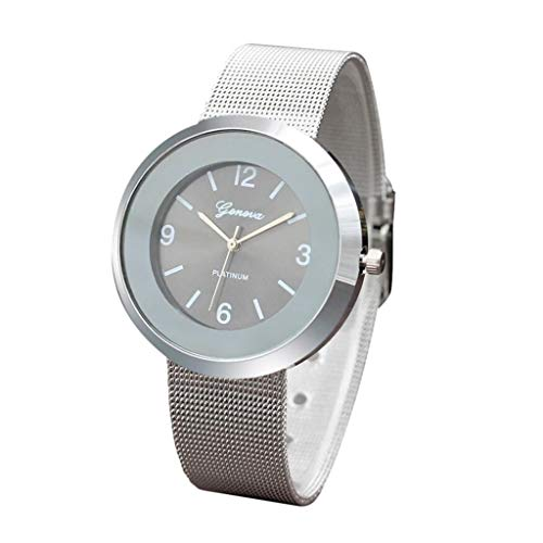 - TADAMI Fashion Stainless Steel Analogue Quartz Simplicity Ladies Elegant Watches Dial Simulated Women Wrist Watches Bracelet Business Wristwatch (Silver)