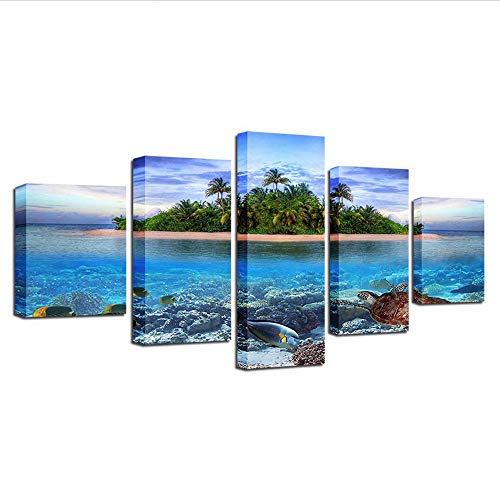 Yyjyxd Hd Prints Home Decoration Bedside Background 5 Pieces Wall Art Canvas Painting Sea Turtles Modular Island Picture Artwork Poster,12X16/24/32Inch,with Frame ()