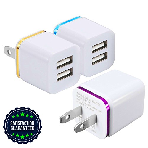 USB Charger, Certified Tricon 2-PORT Wall Charger Power Adapter, 3-Pack 2.4Amp Dual Port Fast Charging Cube for iPhone X 8/7/6 Plus SE/5S/4, iPad, iPod, Samsung, LG, HTC, Huawei, Moto, Tablets & More by Tricon