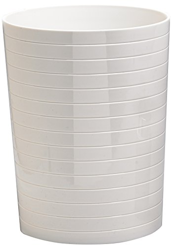 Moda at Home 104164 Ice Series Acrylic Wastebasket, 10.5-Inch, White with Etched Lines