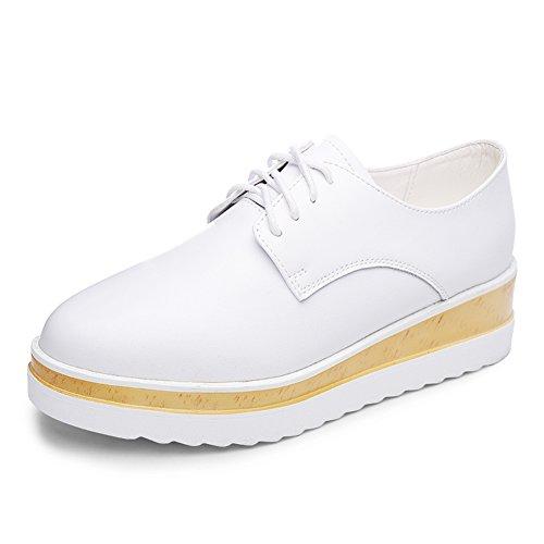 Plataforma blanca zapatos mujeres/Primavera y otoño y los zapatos de suela gruesa/zapatos blanco casuales/Zapatos de cuñas/Zapatos de otoño/Zapatos de cuero B