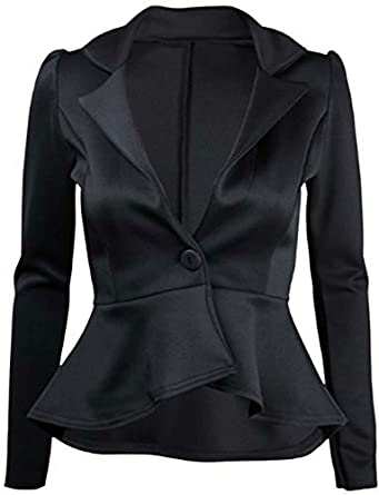 Womens New Long Sleeve Fitted Peplum Jackets Ladies Slim Fit ...