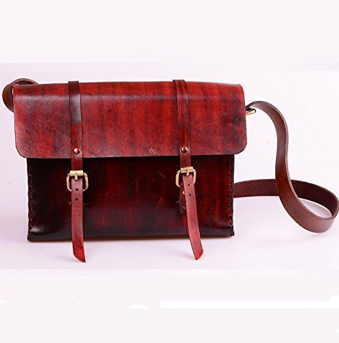 Burgundy Leather Handmade Unisex Messenger Bag