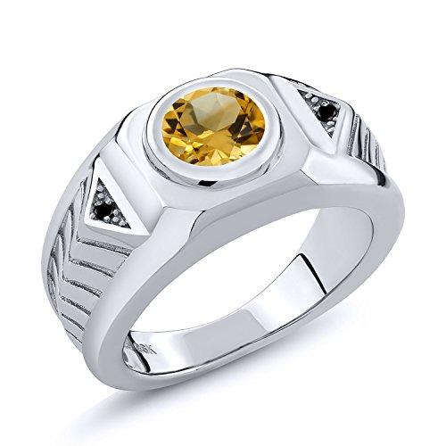 Gem Stone King 1.53 Ct Round Yellow Citrine Black Diamond 925 Sterling Silver Men's Ring (Size 9) (Vintage Mens Diamond Rings)