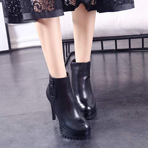 LBTSQ-Mode Damenschuhe Dicke Hintern Runden Kopf Kopf Kopf Heel 12 cm Kurze Stiefel Gut Bei Fuß Super Hochhackigen Wasserdichte Plattform Samt Seite Reißverschluss Martin Stiefel b2db84
