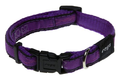 "Rogz Fancy Dress Small 3/8"" Jellybean Side-Release Fashion Dog Collar, Purple Chrome Design"