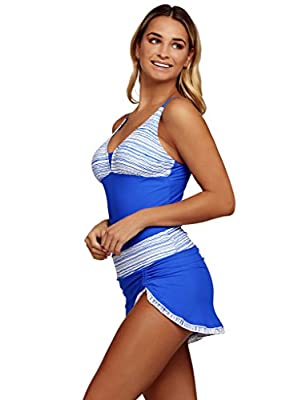 Aleumdr Womens Plunge V Neck Patchwork Striped Tankini Swimsuit with Pantskirt