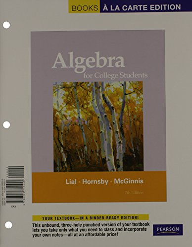 Algebra For College Students  Books Ala Carte Plus Mml Msl Student Access Code Card  For Adhoc Valuepacks   7Th Edition