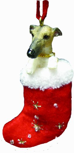 Greyhound Christmas Stocking Ornament with